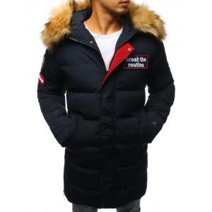 Pánska bunda na zimu prešivana s kožušinou tmavomodrá