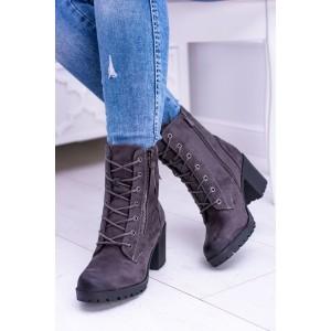 Členkové sivé topánky so šnurovaním a trendy zipsami