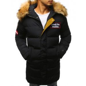 Pánska bunda na zimu prešivana s kožušinou čierna