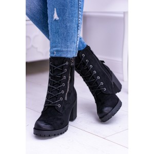 Členkové čierne topánky so šnurovaním a trendy zipsami