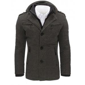 Pánsky kabát zimný v sivej farbe