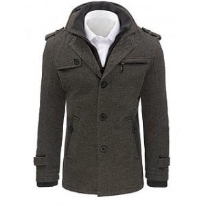 Pánsky kabát v sivej farbe s náprsným vreckom