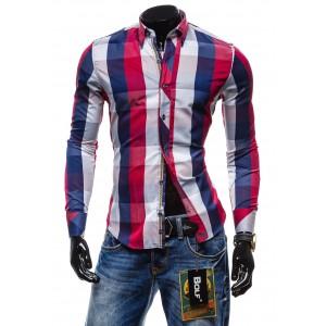 Luxusná pánska slim fit košeľa modro-bordovej farby