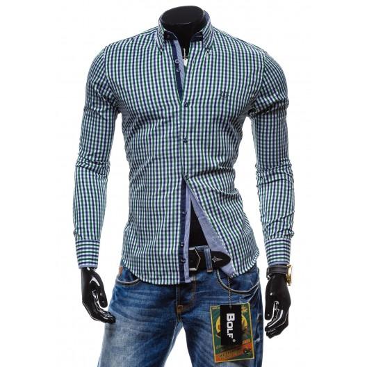 Štýlová pánska károvaná košeľa s dlhým rukávom zeleno modrá