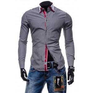 Štýlová pánska pásikavá košeľa s dlhým rukávom sivej farby