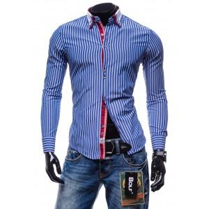 Štýlová pánska pásikavá košeľa s dlhým rukávom modrej farby
