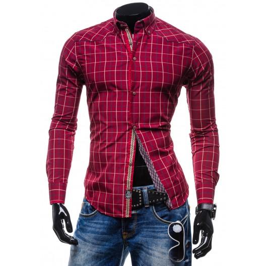 Moderná kockovaná košeľa s dlhým rukávom bordovej farby