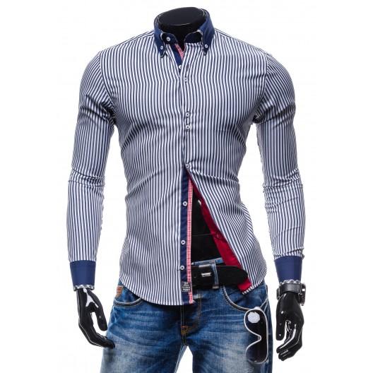 Trendy pánska pásikavá košeľa modro-bielej farby
