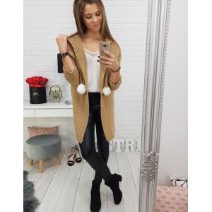 Dámsky dlhý sveter v béžovej farbe