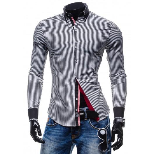 Trendy pánska pásikavá košeľa čierno-bielej farby