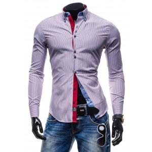 Trendy pánska pásikavá košeľa modro-červenej farby