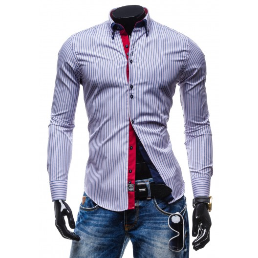 Trendy pánska pásikavá košeľa ružovo-modrej farby