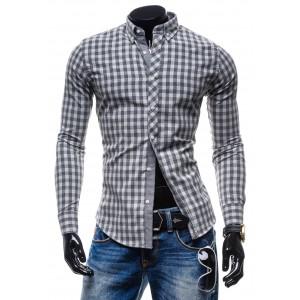Sivá pánska košeľa s kockovaným vzorom