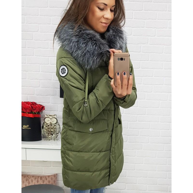e868ab4f5f10 Dámske bundy na zimu s kapucňou zelené