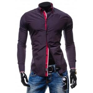 Tmavo-fialová košeľa s kockovaným vzorom