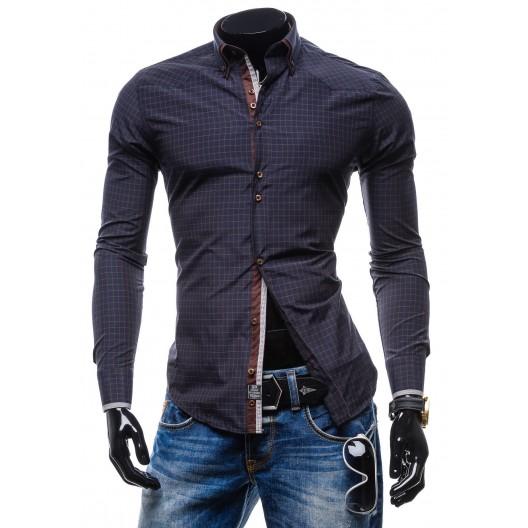 Trendy pánska hnedá košeľa s kockovaným vzorom