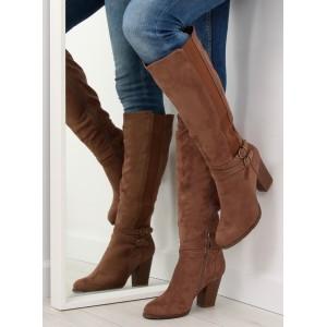 Hnedé dámske vysoké čižmy so šnúrovaním - fashionday.eu be4dc85b02c