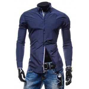Trendy pánska modrá košeľa s kockovaným vzorom