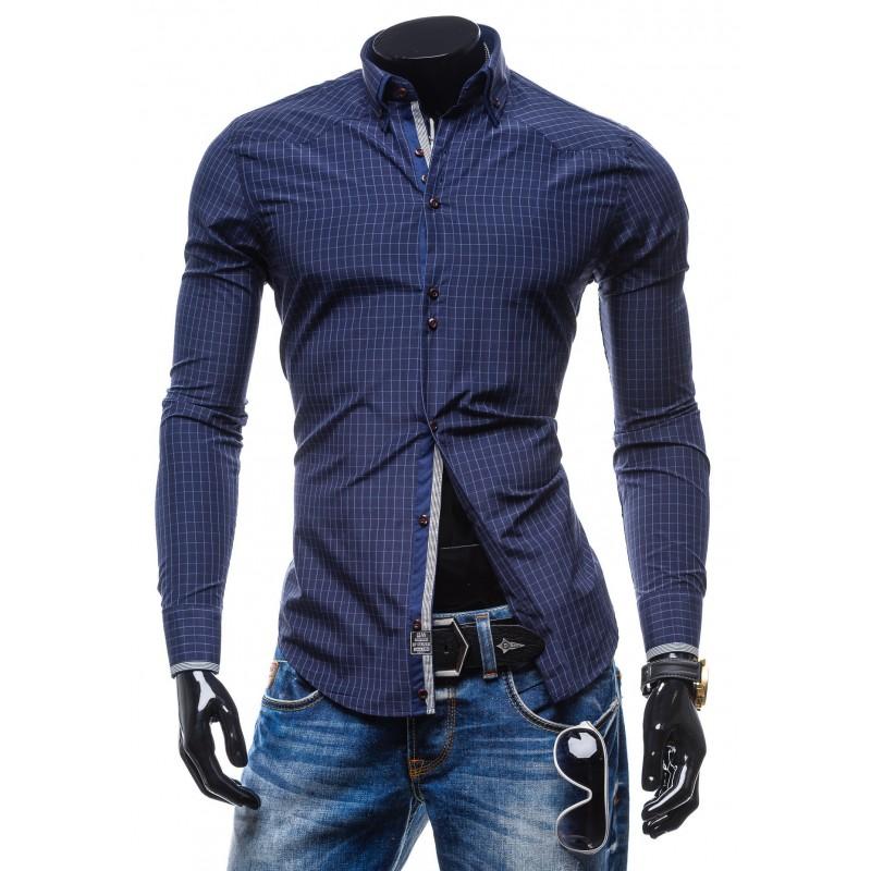 0800c0e279f1 Predchádzajúci. Trendy pánska modrá košeľa s kockovaným vzorom ...