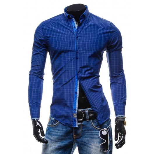 Trendy pánska sýto-modrá košeľa s kockovaným vzorom