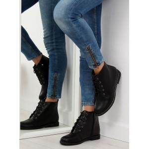 Dámska členková obuv so šnurovaním čierne