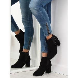Členkové topánky dámske na opätku čierne