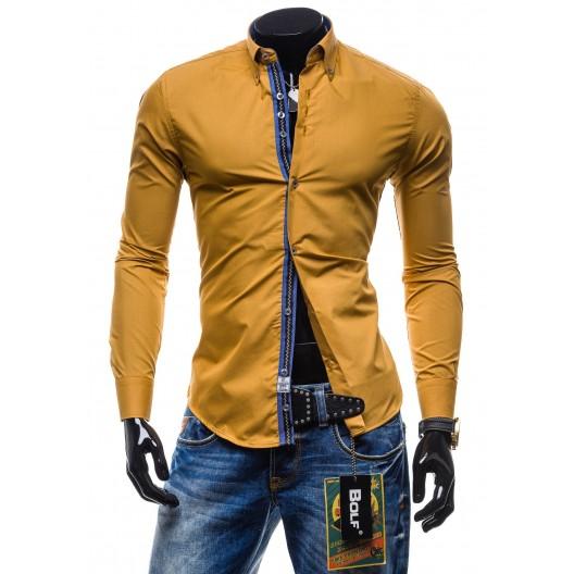 Moderná pánska košeľa slim fit žlto-hnedej farby