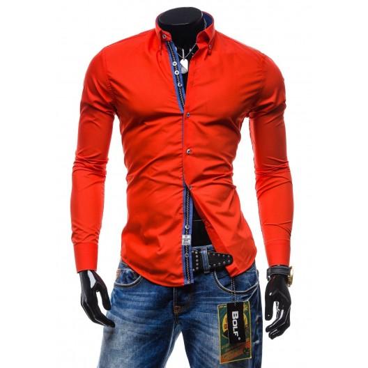 Moderná pánska košeľa slim fit červenej farby