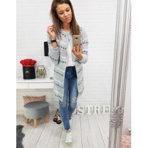 Dlhý dámsky sveter sivý s farebným vzorom