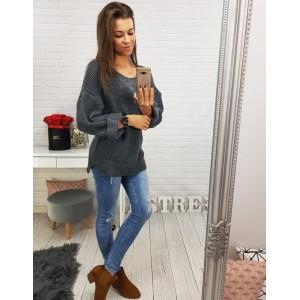 Dámsky dlhý sveter na voľný čas tmavosivý