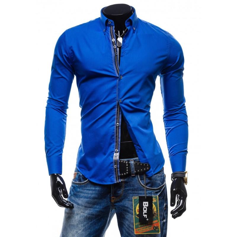 70a91b783170 Moderná pánska košeľa slim fit modrej farby - fashionday.eu