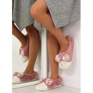 Teplé papuče na doma ružové