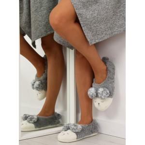 Teplé papuče na doma sivé