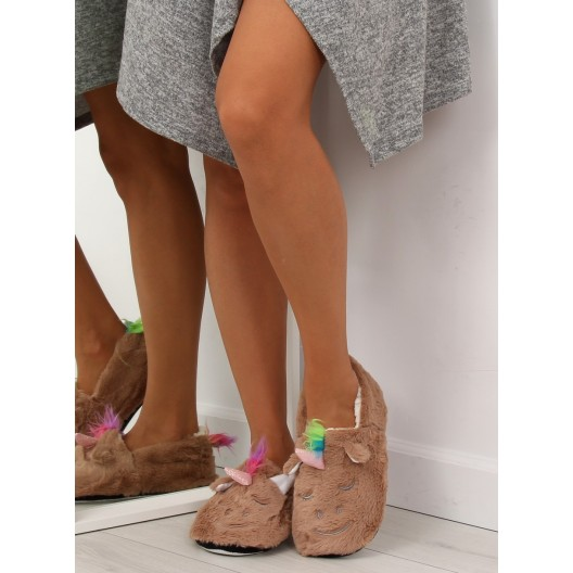 Domáce papuče dámske hnedé