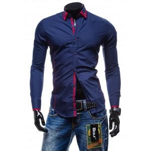 Štýlová pánska slim fit košeľa granátovej farby