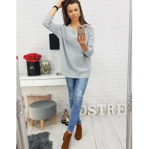 Luxusné dámske svetre s mašľou vzadu sivé