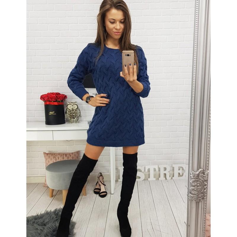 Dlhý sveter pre dámy v modrej farbe b89fc2fb1b0