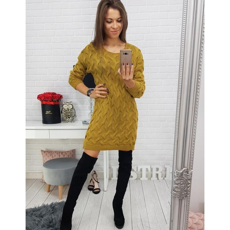 b8affab95d2f Pletené svetre dlhé dámske v žltej farbe