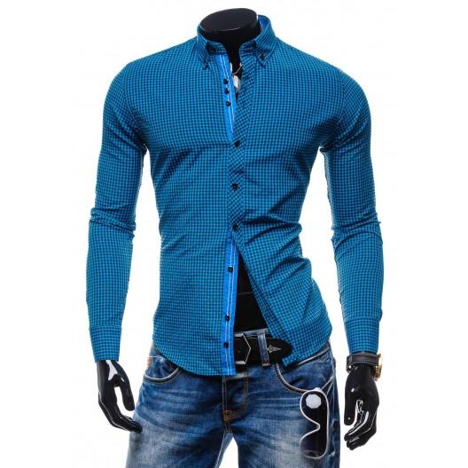 Štýlová pánska slim fit košeľa tyrkysovej farby