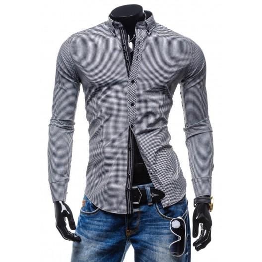 Štýlová pánska károvaná košeľa s dlhým rukávom čierno-biela