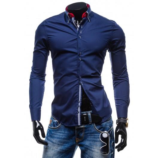 Elegantná granátová slim fit pánska košeľa