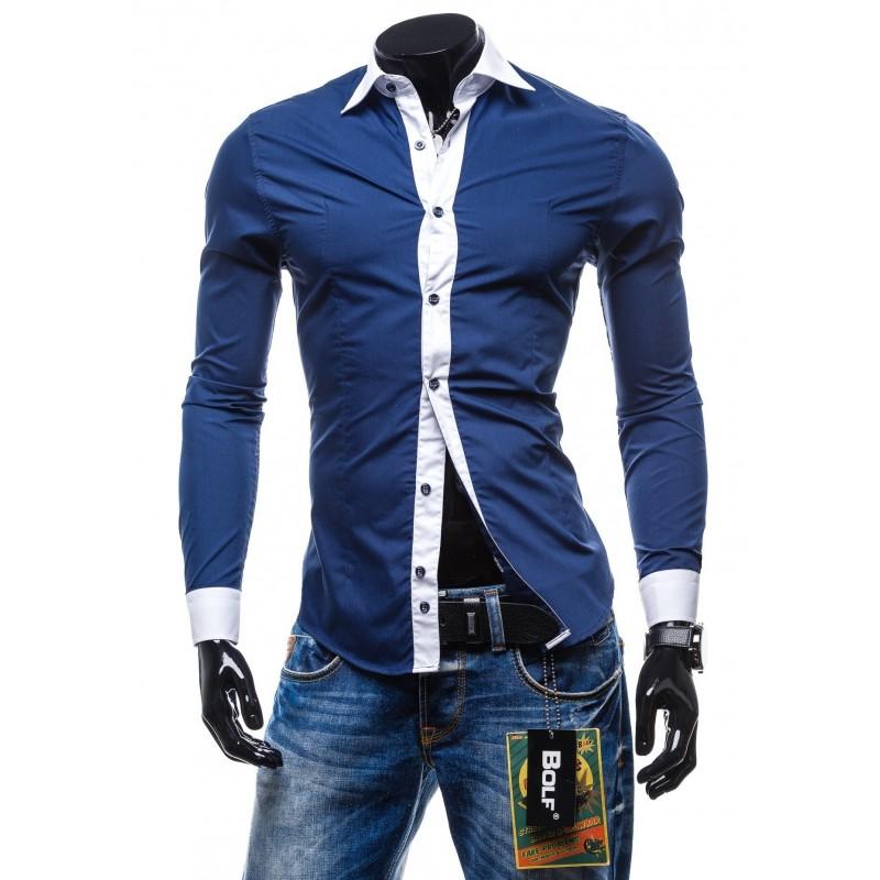 a02d2df4551f Elegantná sýto-modrá slim fit pánska košeľa - fashionday.eu