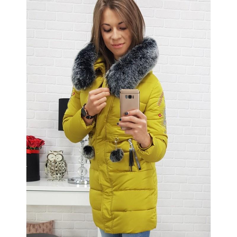 Dámska zimná bunda v žltej farbe s kožušinou 8bfca6db909