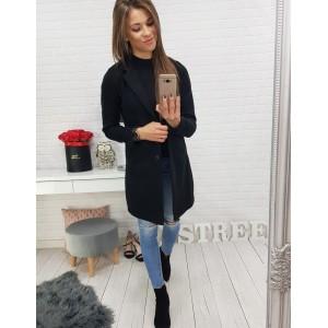 Čierny kabát dámsky s gombíkmi
