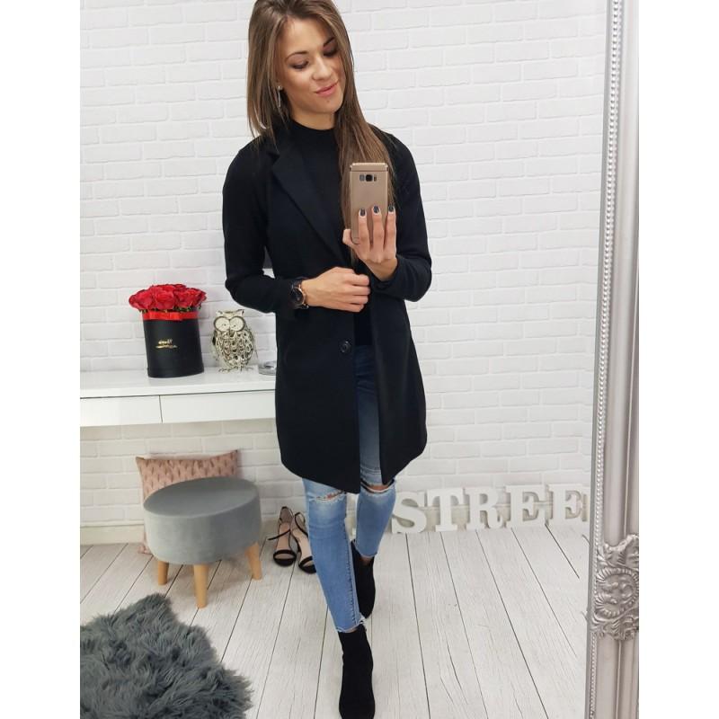 Čierny kabát dámsky s gombíkmi 105cfd6079c