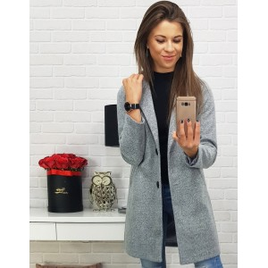 Jesenný kabát dámsky v sivej farbe