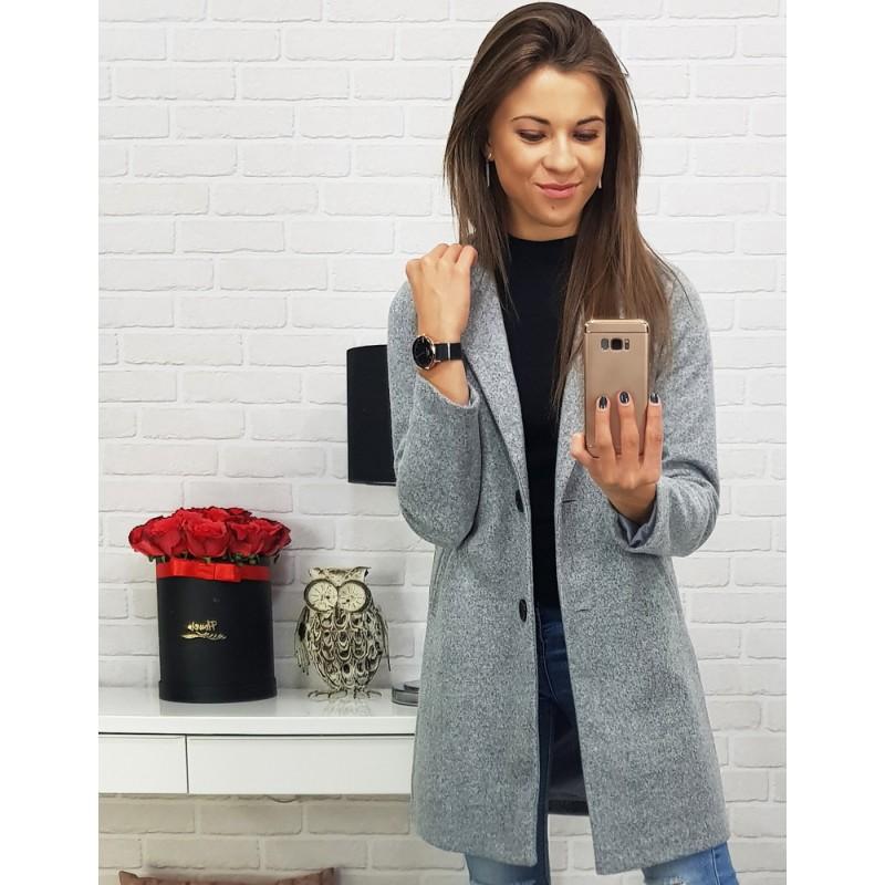 Jesenný kabát dámsky v sivej farbe f4a994a7dca