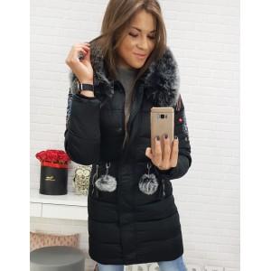 Dámska dlhá zimná bunda s ľudovým motívom