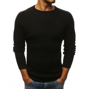 Pánske moderný sveter čiernej farby s vrúbkovanými rukávmi
