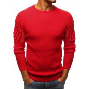 Elegantný pánsky sveter s okrúhlym výstrihom v červenej farbe